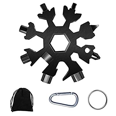 Snowflake Multitool,1 Pcs 18-in-1 Snowflake Standard Multi Tool, Stainless Steel Snowflake Wrench with Gift Bag, Key Ring and Carabiner Clip(Black)