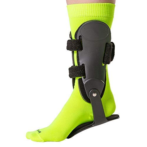 BraceAbility Rigid Hinged Ankle Stabilizer | Active PTTD Brace Shoe Splint for Sprained, Twisted or Rolled Ankle Protection in Running, Basketball, Football, Soccer (S - Right Foot)