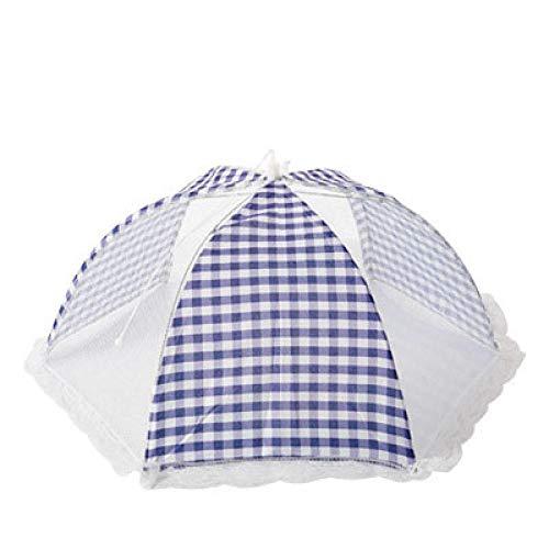 B/H Maillage de la Tente,Grande Couverture de Couverture Anti-Mouche Parapluie végétal Couverture de Table à Manger Couverture de Table Couverture Alimentaire-Rond + Bleu,Couvercle moustiquaire
