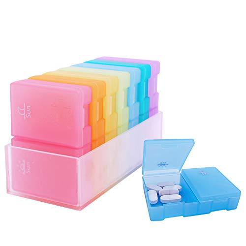 Estefanlo Weekly Pill Organizer, 7 Day Pill Box (2...