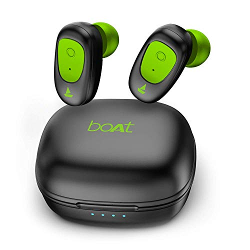 boAt Airdopes 201 True Wireless Earbuds with Up to 3H + 12H Additional Playback, IPX4 Water Resistance, Secure Fit Earhooks, Immersive Audio and BT V5.0(Viper Green)