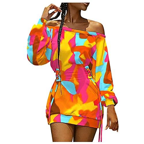 MINEMIN Long Sleeve Dress Women Off The Shoulder Ladies Solid Color Tie-Dye Printing Drawstring Mini Dresses