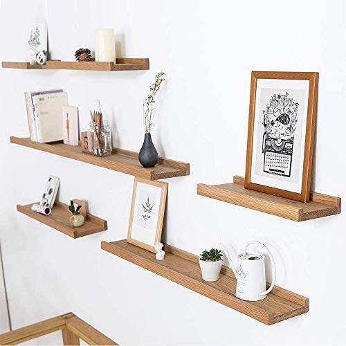 INMAN HOME Rustikales Wandregal aus massiver Eiche, 30,5 cm, schwebend, Wandmontage, Hängeregal, Aufbewahrungsregal, Bücherregal, Foto-Regal