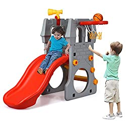 cheap Costzon infant slides, 4-in-1 mountaineering slides with basketball hoops, telescopes, crawls …