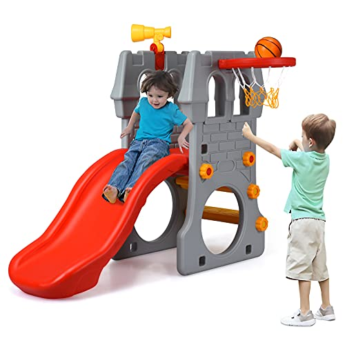 Costzon 4 in 1 Slide for Kids, Toddler Climber Slide Set with Basketball Hoop, Telescope, Crawl Through Space, Easy Climb Stairs, Kids Slide for Both Indoors Outdoor Use