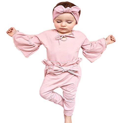 wuayi Ensemble de Fille, Pyjama Fille Pure Color T-Shirt à Manches Longues + Pantalons Tenues Vêtements pour Enfant Fille 1 - 6 Ans