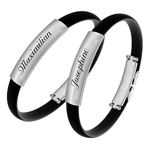 Schmuck-Pur Armband mit Laser-Gravur für Paare Freundschaft 2-teiliges Partner-Set aus Edelstahl und Kautschuk 19 cm Länge kürzbar