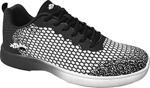 Bowling-Schuhe, Aloha HexaGo, Damen und Herren, für Rechts- und Linkshänder Schuhgröße 35-49 (43 EU, Schwarz/Weiß)