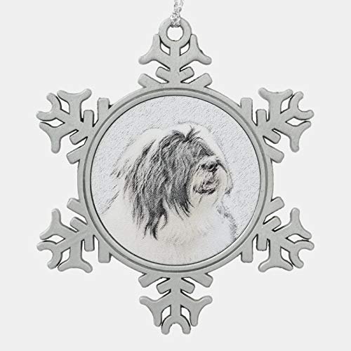 JamirtyRoy1 Christmas Ornament, Bearded Collie Drawing - Cute Original Dog Art Snowflake Pewter Christmas Ornament, Xmas Tree Hanging Decorations, Home Decor, Keepsake Gift, 3 Inch Snowflake Ornament