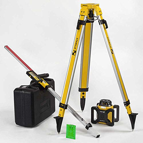 Stabila 04500 LAR 160 G Green Rotation Self-Leveling Laser Kit Interior and Exterior with Tripod & Grade Rod