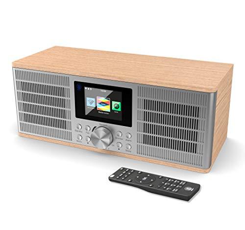 Majority Peterhouse Graduate Radio Internet WiFi con Spotify Connect, Bluetooth, Mando a Distancia, Carga y Entrada USB, AUX-in, Radio Despertador de Alarma Dual - Roble