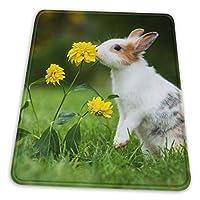 マウスパッド ウサギと黄色いお花 ゲーミングマウスパット デスクマット 最適 高級感 おしゃれ 滑り止めゴム底 防水設計 複数サイズ