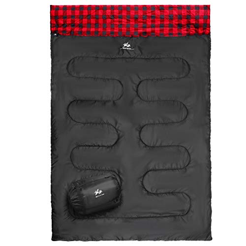 BESTEAM Double Sleeping Bag Backpacking, Hiking, Family Camping, Traveling. Queen Size XL Truck,...