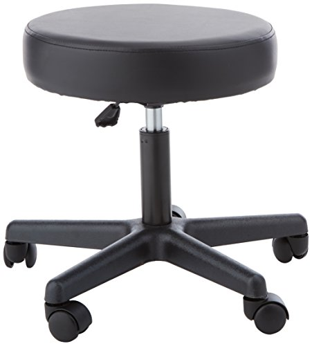 Sammons Preston 57189 Pneumatic Therapy Stool, Black, Dense Foam Cushion Stool for Extra Support and Comfort, Swivel Seat with Mobility Wheels for Clinical & Hospital Use, Lower Body Support, Rolling Stool