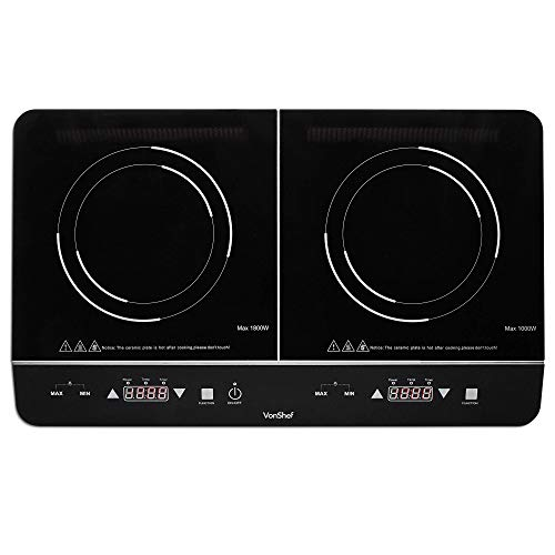 VonShef Twin Induction Hob - Compact, Portable, Ceramic Tabletop Electric Cooking Hob with 180 Minute Timer & LED Display Panel for Home, Camping, Caravan, Student Living & Table Top Cooking - 2800W