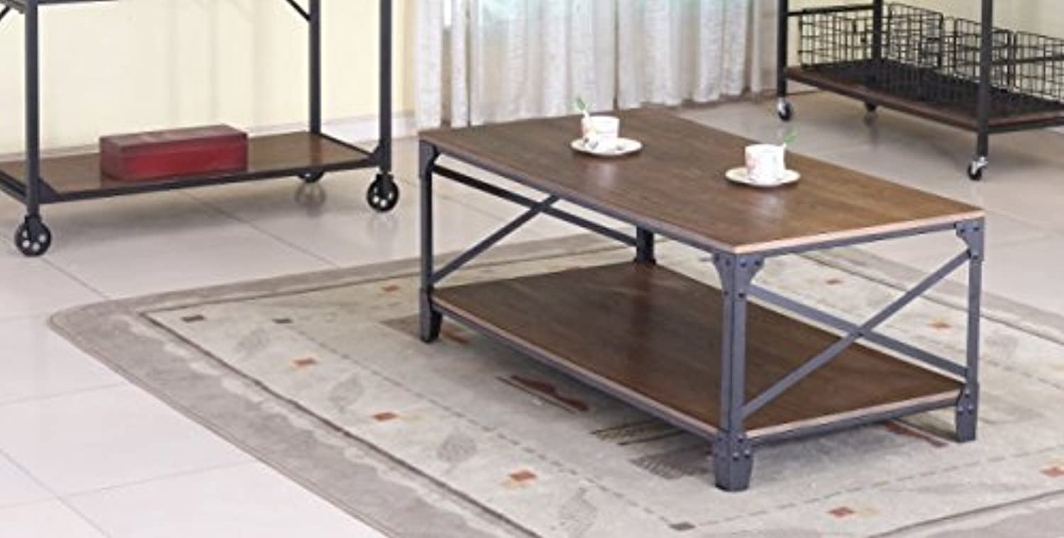 Baxton Studio Wholesale Interiors Greyson Vintage Industrial Occasional Cocktail Coffee Table, Antique Bronze
