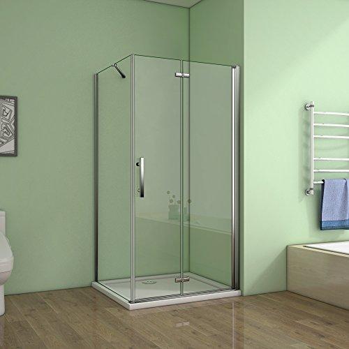 Cabine de douche 120x90x195cm verre anticalcaire avec une barre de fixation de 140cm