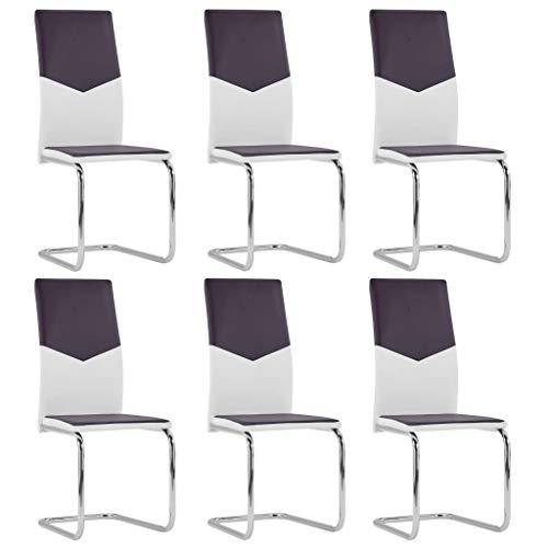 Extaum Sillas voladizas de Comedor 6 Unidades Cuero sintético Marrón y Blanco Juego de 6 Sillas 43 x 50 x 100,5 cm