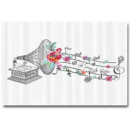 Music Decor Posters for Boys Room Vintage Gramophone Record Player with Floral Ornament Blossom Antique Best Gifts for Men 2020 Grey Pink L12 x H18 Inch