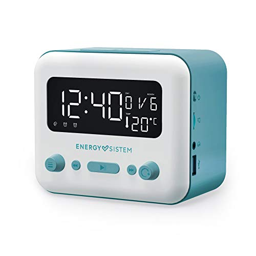 Energy Sistem Clock Speaker 2 Bluetooth Sky - Altavoz Reloj Bluetooth (Dual Alarm, 5 W, FM Radio, Bluetooth 5.0, Aux-out) Azul/Blanco