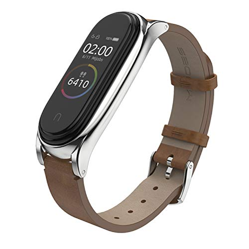 BDIG Kompatibel für Xiaomi Mi Band 5 Mi Band 4 Armband Leder, Ersatzband Wasserdicht Lederarmband Strap Handgelenk Band Zubehör für Xiaomi MiBand 3 Miband 5 (Fitness Tracker Nicht Enthalten)
