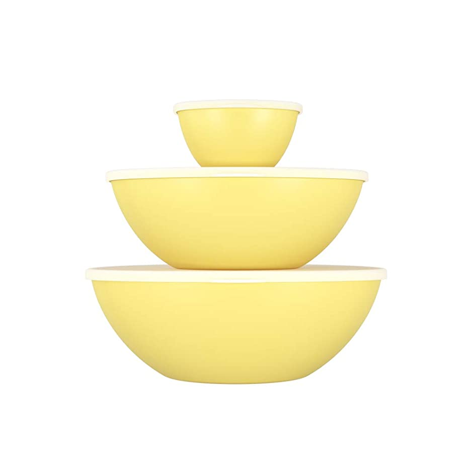 Coza Stackable and Unbreakable Serving Bowl for Mixing, Serving, Salad or Dessert with Lid- Set of 6 (3 Bowls + 3 Lids) (Yellow)
