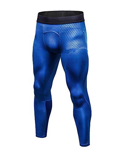Kompressionshose Herren Sport Leggings Atmungsaktiv Fitness Strumpfhosen Funktionswäsche Pants Unterhose Lang für Laufen Wandern Radfahren Blau M