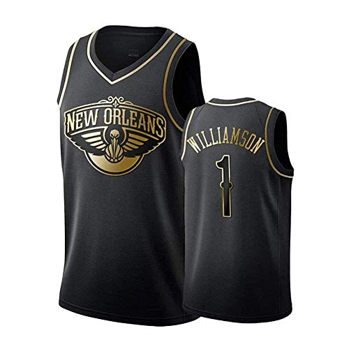 HANJIAJKL Basketball Trikot für Männer,Orleans Pelicans #1 Zion Williamson,Basketball Trikot für Herren Retro Gym Weste Sport T-Shirt,6,M:175cm/65~75kg