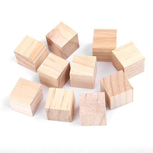 Akozon Wooden Blocks Craft Natural Square Wooden Blocks Wood Cubes for DIY...