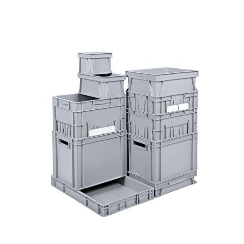 Euro-Stapelbehälter - Inhalt 32 l, LxBxH 600 x 400 x 175 mm, PP - grau - Behälter Behälter aus Kunststoff EUR-Stapelbehälter Kiste Kisten Lagerbehälter Lagerkasten Lagerkästen Stapelbehälter Stapelbehälter aus Kunststoff Stapelkasten Stapelkästen