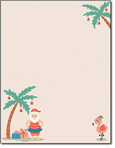 Tropical Santa Holiday Stationery Paper - 80 Sheets Christmas Letterhead