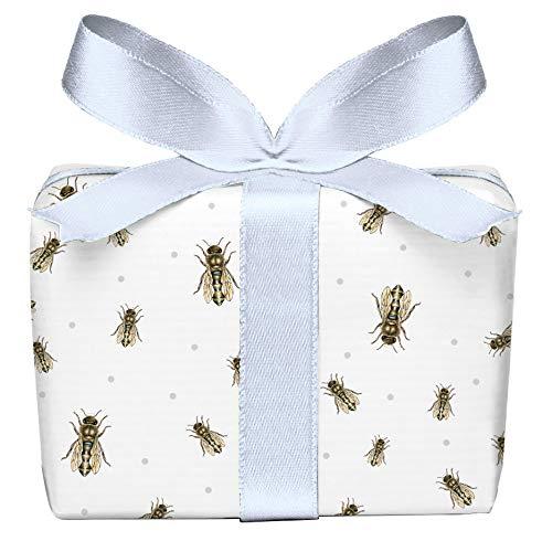 5er Set 5 Bögen Geschenkpapier Biene braun blau Punkte, für Imker und Honig Liebhaber Geburtstag Taufe Ostern Hochzeit Weihnachten, Format 50 x 70 cm