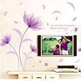 GKAWHH Flores En El Viento Mariposa Romántica Púrpura Etiqueta De La Pared Dormitorio Acogedor Salón Etiqueta De La Pared Decal 220 * 142 Cm