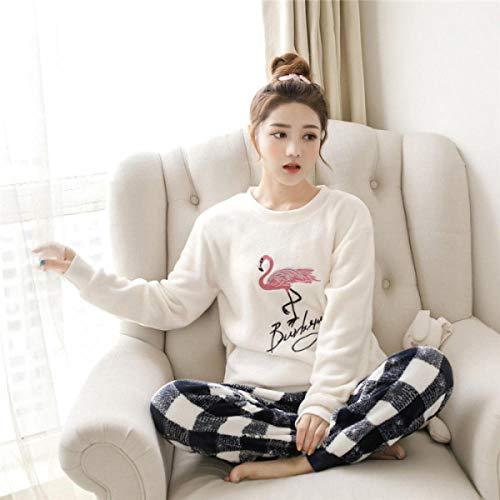 Wenhua Pajamas Ninas, Pijamas Gruesos de otoño e Invierno para niña, Flamingo_L, Pijamas Mujer Verano Largo del Pijamas Pantalones
