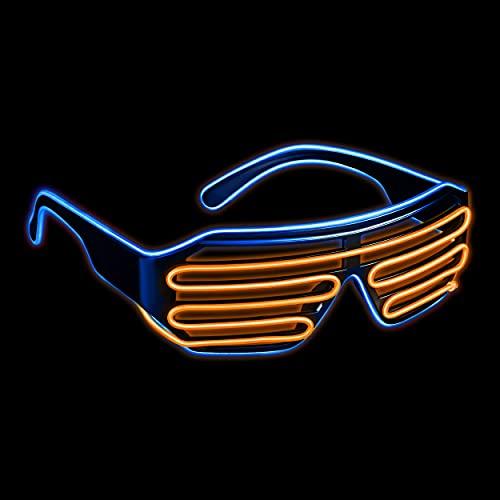 Gafas LED con 3 modos de flash – perfectas como Techno DJ | Festival | Halloween | Carnaval | como complemento para el disfraz (azul / naranja)