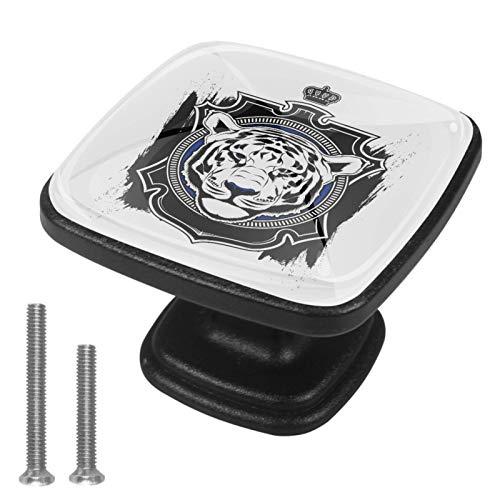 Manija del cajón Tigre Rey Negro Tirador para muebles cristal Perilla de cajón Pomo Negro para muebles 4 piezas Para cocina salón baño dormitorio 3x2.1x2 cm
