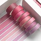 N\O HvxMot Washi Tape Set Colorati, 8 Rotoli Washi Tapes Set, Washi Tapes Vintage Rotolo da 3m, con 1 Scatola, per Diario, Decorativo, Confezioni, Calendari (Larghezza: 10mm, 15mm, Rose Red)