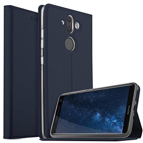 Verco Handyhülle für Nokia 8 Sirocco, Premium Handy Flip Cover für Nokia 8 Sirocco Hülle [integr. Magnet] Book Case PU Leder Tasche, Blau
