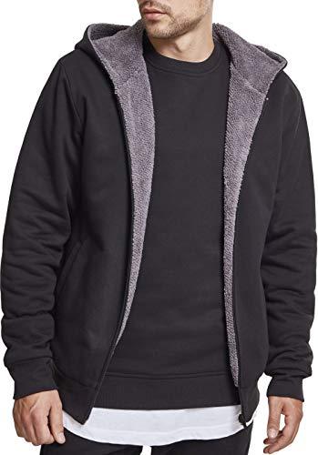 Urban Classics Herren Sherpa Lined Zip Hoodie Sweatjacke, Mehrfarbig (Black/Grey 01198), L