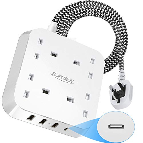 Extension Lead with USB Slots, 4 Way Outlets Power Strips with 4 USB (3.4A, 1 USB-C and 3 USB-A Port) Surge Protection Plug Extension Socket with 1.8 Meter Braided Extension cord for Home Office Hotel