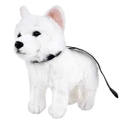 Teddys Rothenburg Weisser Schäferhund mit Halsband und Leine 25cm Plüschhund