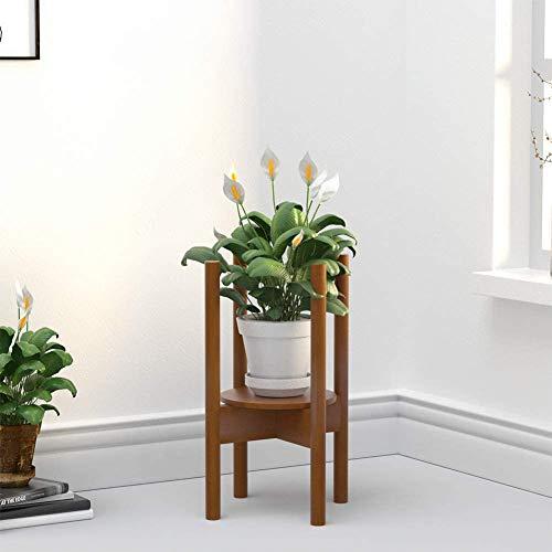 Moderne Holzblumenständer verstellbar Bambus Hauspflanze Rahmen passend für 21cm-30cm,Brown