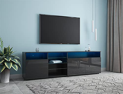 """90"""" Modern TV Stand, TV Consoles, Central Entertainment Center, High Gloss Fronts,16 Color LED Lights System with Remote ON/Off and Color Control.-Black"""