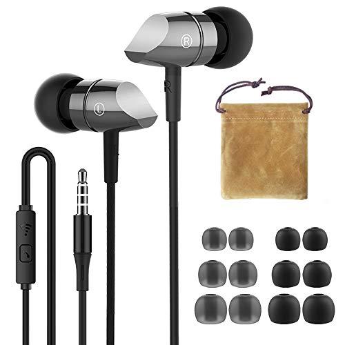 HIFI WALKER Auricolari con Filo, Cuffiette Cuffie in Ear con Microfono, Jack 3.5 mm per Smartphone Xiaomi/Samsung/LG, Cavo Lungo 1 Metri, Grigio