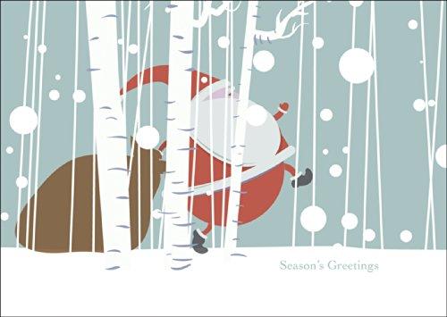 Grappige kerstkaart met envelop, cadeaukaart wenskaart voor Kerstmis met bijbehorende kerstman in het bos: Season's Greetings • nu direct verzenden met eigen tekst-inlegger.