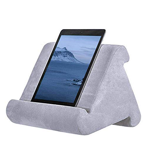 AITOCO Tablet Stand Pillow Holder Soft Cushion Lap Stand for iPad Universal Phone and Tablet Stand and Holder Can Be Used On Bed, Floor, Desk, Lap and Sofa, Couch grey