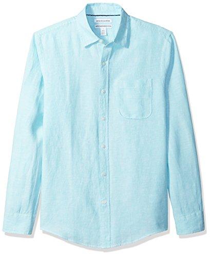 Amazon Essentials - Camisa de lino con manga larga, corte entallado y estampado para hombre, Azul (Aqua), US XS (EU XS)