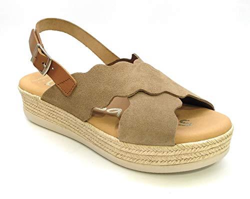 Oh! my Sandals 4682 Plataforma Piel Serraje Hebilla-Taupe