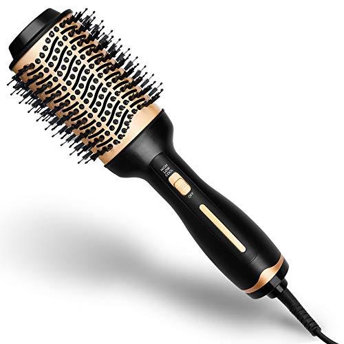 olyee Haartrockner Warmluftbürste, 5 in 1 Salon Multifunktions Föhnbürste Hair Dryer Volumizer Styler & Glatthaarkamm & Lockenwicklerbürste für Alle Styling(Gold)