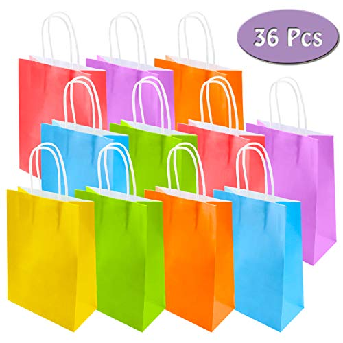 Fyess 36 Pieces Bright Color Kraft Paper Gift Bags Candy Bags Party Favor Bags Treat Bags with String Handle for Birthday Favors, Wedding and Party Celebrations Supplies, Event Supplies 6 Colors